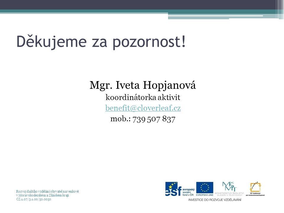 Děkujeme za pozornost! Mgr. Iveta Hopjanová koordinátorka aktivit benefit@cloverleaf.cz mob.: 739 507 837 Rozvoj dalšího vzdělání obyvatel na venkově