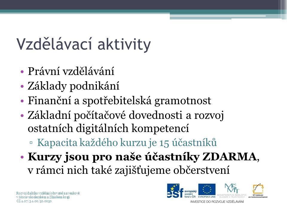Vzdělávací aktivity Právní vzdělávání Základy podnikání Finanční a spotřebitelská gramotnost Základní počítačové dovednosti a rozvoj ostatních digitálních kompetencí ▫Kapacita každého kurzu je 15 účastníků Kurzy jsou pro naše účastníky ZDARMA, v rámci nich také zajišťujeme občerstvení Rozvoj dalšího vzdělání obyvatel na venkově v Moravskoslezském a Zlínském kraji CZ.1.07/3.1.00/50.0050