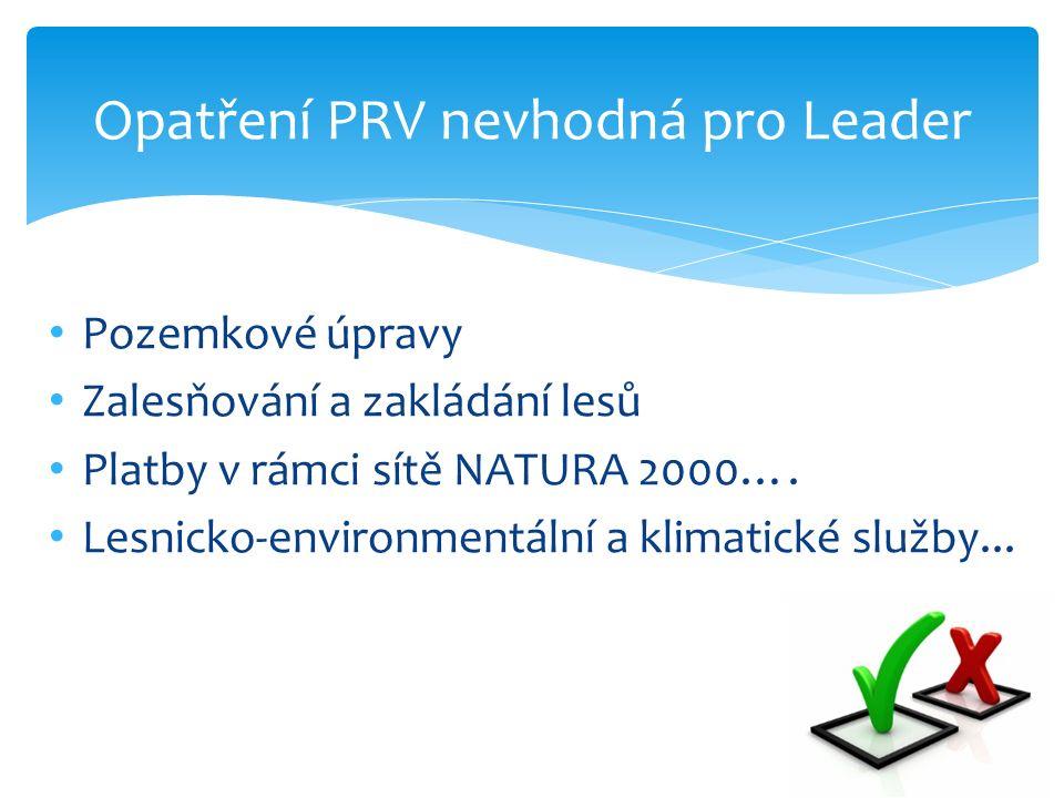 Opatření PRV nevhodná pro Leader Pozemkové úpravy Zalesňování a zakládání lesů Platby v rámci sítě NATURA 2000….