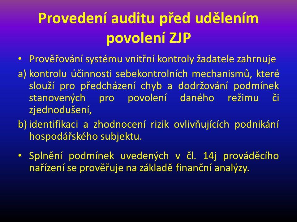 Provedení auditu před udělením povolení ZJP Prověřování systému vnitřní kontroly žadatele zahrnuje a)kontrolu účinnosti sebekontrolních mechanismů, které slouží pro předcházení chyb a dodržování podmínek stanovených pro povolení daného režimu či zjednodušení, b)identifikaci a zhodnocení rizik ovlivňujících podnikání hospodářského subjektu.