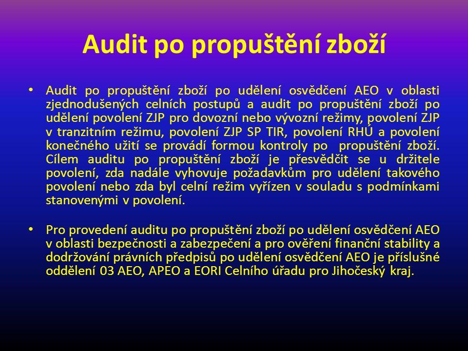 Audit po propuštění zboží Audit po propuštění zboží po udělení osvědčení AEO v oblasti zjednodušených celních postupů a audit po propuštění zboží po udělení povolení ZJP pro dovozní nebo vývozní režimy, povolení ZJP v tranzitním režimu, povolení ZJP SP TIR, povolení RHÚ a povolení konečného užití se provádí formou kontroly po propuštění zboží.
