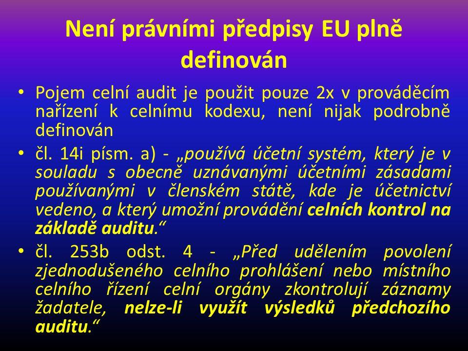 Podklady pro nastavení systému Požadavky Evropské komise na nastavení systému celního auditu Výtky Evropské komise členským státům z dosavadních kontrol Evropské komise na provádění celního auditu v členských zemích EU Právní předpisy České republiky