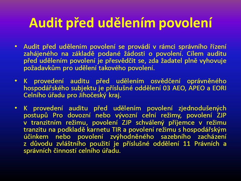 Provedení auditu po propuštění zboží u RHÚ nebo konečného užití Auditem po propuštění zboží se na vybraném vzorku celních prohlášení kontrolují nejen údaje uvedené v kontrolovaných celních prohlášení, ale i skutečnost, jak při propouštění zboží uvedeného na kontrolovaných celních prohlášení byly dodrženy podmínky stanovené v rámci povolení RHÚ nebo v povolení konečného užití.