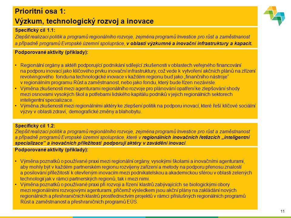 11 Prioritní osa 1: Výzkum, technologický rozvoj a inovace Specifický cíl 1.1: Zlepšit realizaci politik a programů regionálního rozvoje, zejména prog