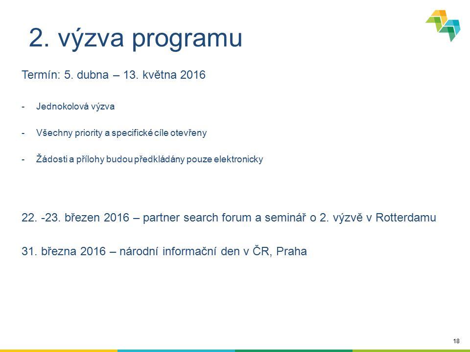 18 2. výzva programu Termín: 5. dubna – 13. května 2016 -Jednokolová výzva -Všechny priority a specifické cíle otevřeny -Žádosti a přílohy budou předk