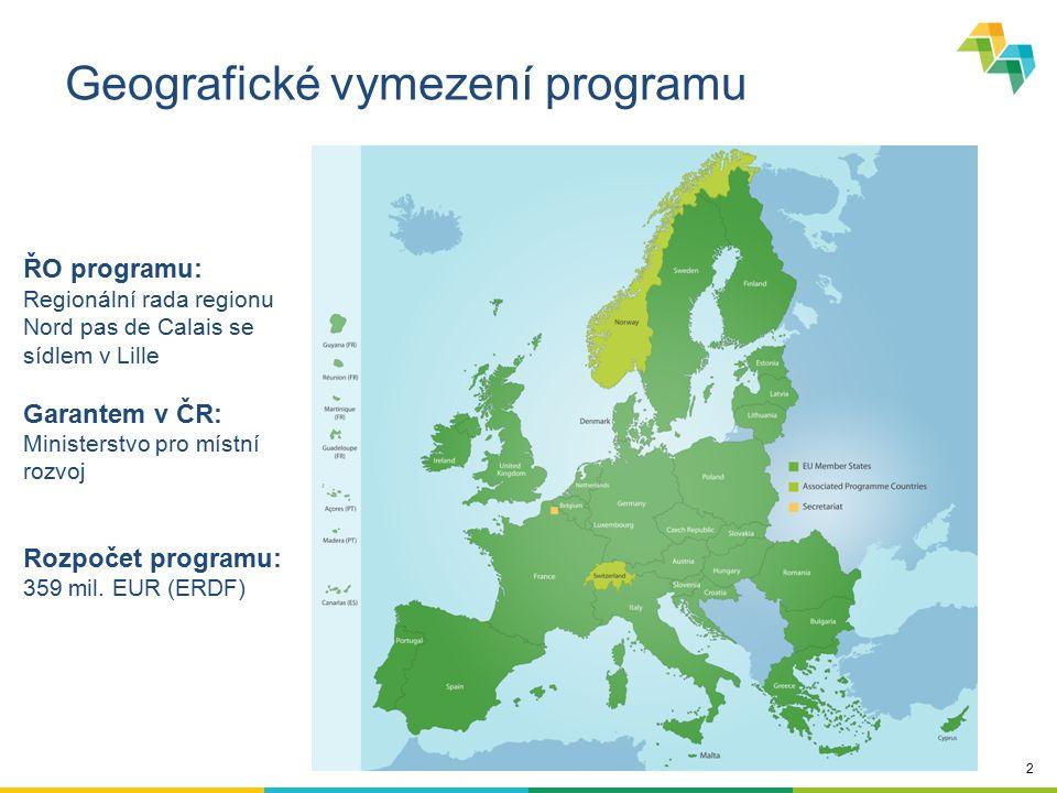 2 Geografické vymezení programu ŘO programu: Regionální rada regionu Nord pas de Calais se sídlem v Lille Garantem v ČR: Ministerstvo pro místní rozvo