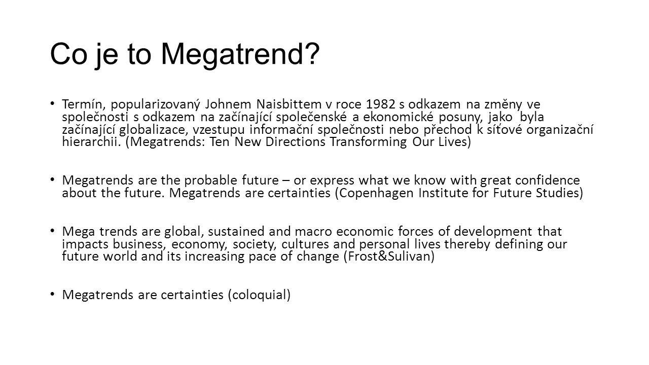 Kolik je na světě megatrendů Různí se dle autora a definice Jsou pojmenovány různě Identifikují různé podtrendy Autoři většinou analyzují něco mezi 10 – 25 Zdroj: SOER 2015, EEA