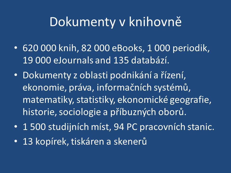 Dokumenty v knihovně 620 000 knih, 82 000 eBooks, 1 000 periodik, 19 000 eJournals and 135 databází.