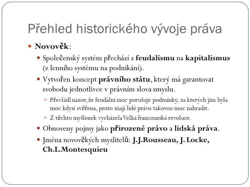 Přehled historického vývoje práva Novov ě k: Spole č enský systém p ř echází z feudalismu na kapitalismus (z lenního systému na podnikání).