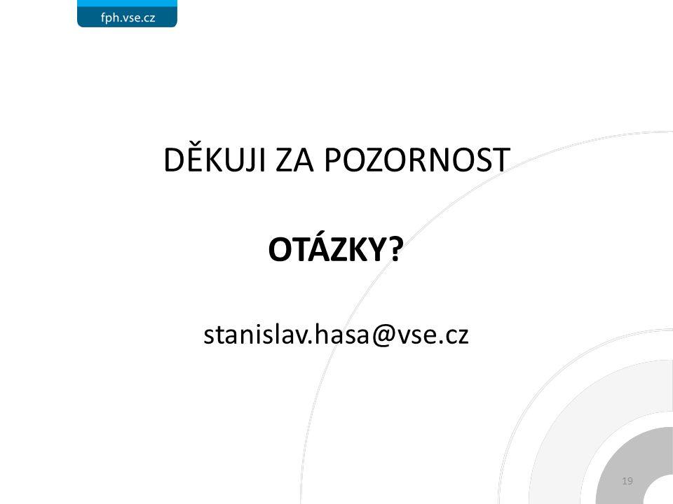 DĚKUJI ZA POZORNOST OTÁZKY stanislav.hasa@vse.cz 19