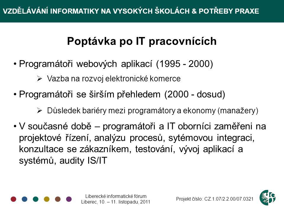 VZDĚLÁVÁNÍ INFORMATIKY NA VYSOKÝCH ŠKOLÁCH & POTŘEBY PRAXE Poptávka po IT pracovnících Programátoři webových aplikací (1995 - 2000)  Vazba na rozvoj elektronické komerce Programátoři se širším přehledem (2000 - dosud)  Důsledek bariéry mezi programátory a ekonomy (manažery) V současné době – programátoři a IT oborníci zaměřeni na projektové řízení, analýzu procesů, sytémovou integraci, konzultace se zákazníkem, testování, vývoj aplikací a systémů, audity IS/IT Liberecké informatické fórum Liberec, 10.