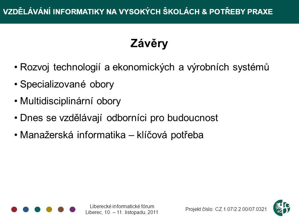 VZDĚLÁVÁNÍ INFORMATIKY NA VYSOKÝCH ŠKOLÁCH & POTŘEBY PRAXE Děkuji za pozornost Liberecké informatické fórum Liberec, 10.