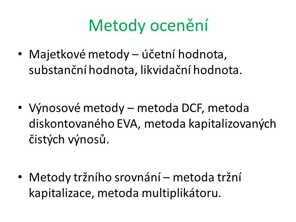 Metody ocenění Majetkové metody – účetní hodnota, substanční hodnota, likvidační hodnota. Výnosové metody – metoda DCF, metoda diskontovaného EVA, met