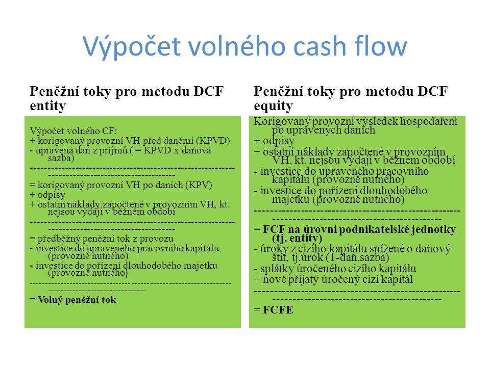 Výpočet volného cash flow Peněžní toky pro metodu DCF entity Výpočet volného CF: + korigovaný provozní VH před daněmi (KPVD) - upravená daň z příjmů (