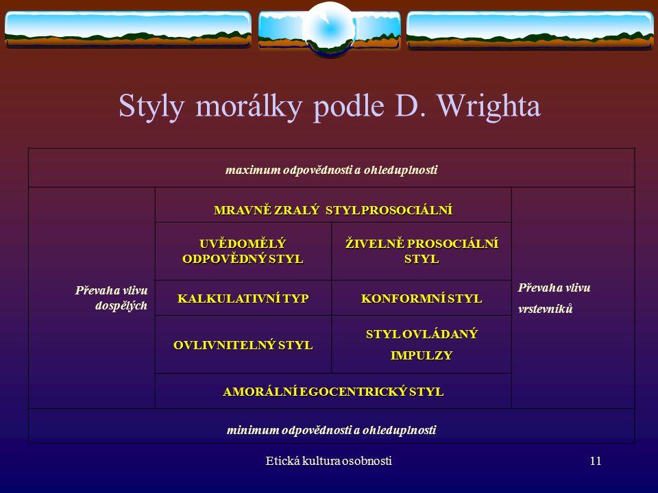 Etická kultura osobnosti11 Styly morálky podle D.