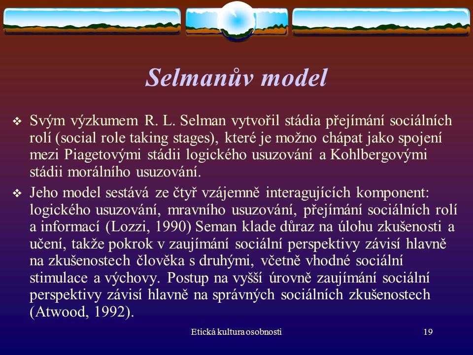 Etická kultura osobnosti19 Selmanův model  Svým výzkumem R.