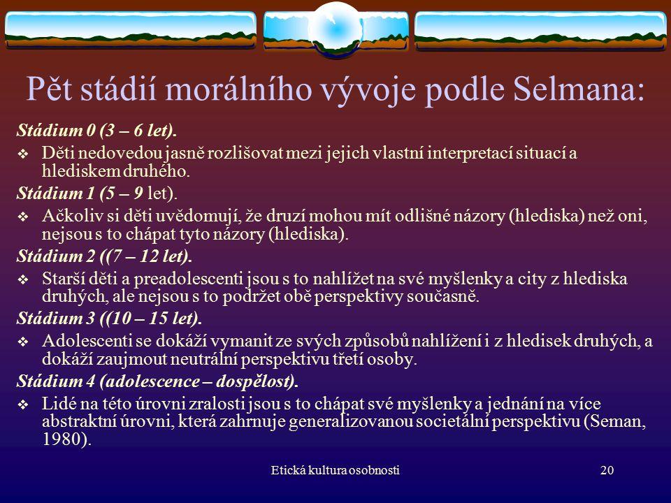 Etická kultura osobnosti20 Pět stádií morálního vývoje podle Selmana: Stádium 0 (3 – 6 let).