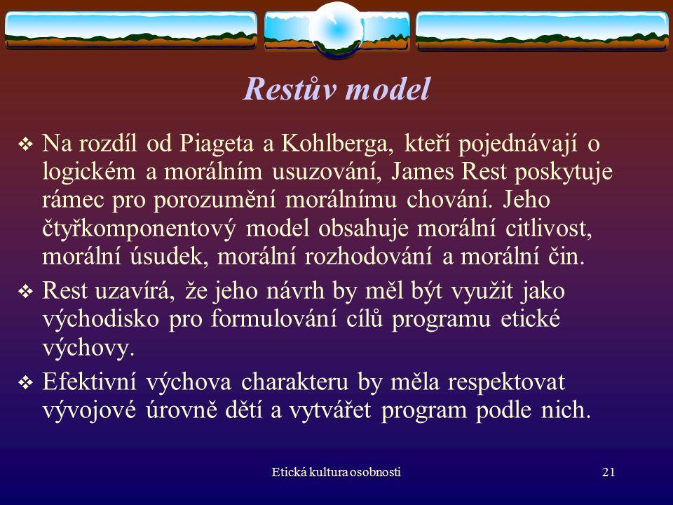 Etická kultura osobnosti21 Restův model  Na rozdíl od Piageta a Kohlberga, kteří pojednávají o logickém a morálním usuzování, James Rest poskytuje rámec pro porozumění morálnímu chování.