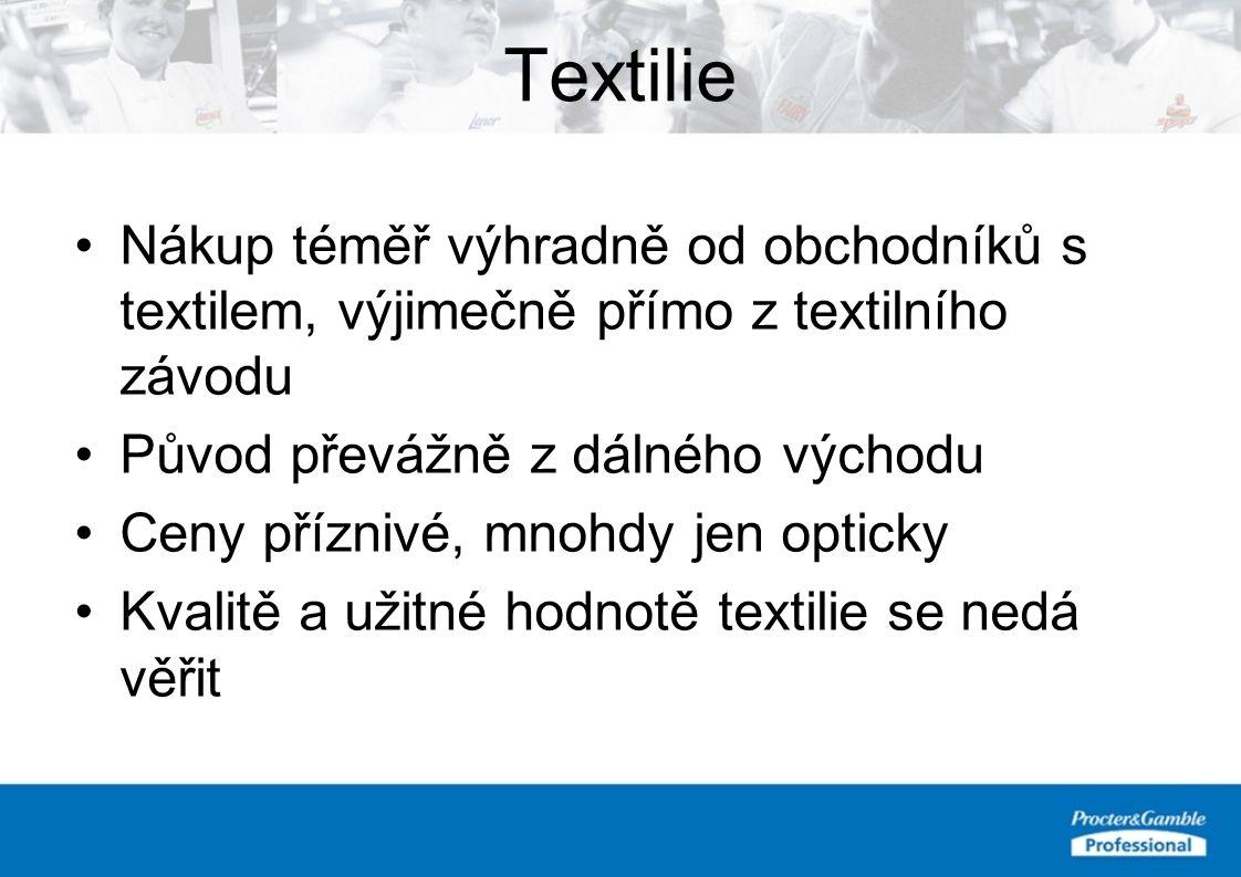 Textilie Nákup téměř výhradně od obchodníků s textilem, výjimečně přímo z textilního závodu Původ převážně z dálného východu Ceny příznivé, mnohdy jen opticky Kvalitě a užitné hodnotě textilie se nedá věřit