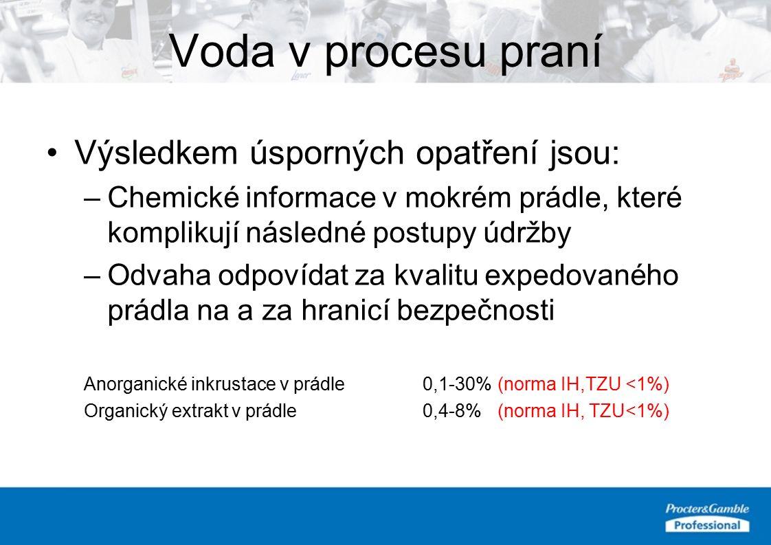 Voda v procesu praní Výsledkem úsporných opatření jsou: –Chemické informace v mokrém prádle, které komplikují následné postupy údržby –Odvaha odpovídat za kvalitu expedovaného prádla na a za hranicí bezpečnosti Anorganické inkrustace v prádle0,1-30%(norma IH,TZU <1%) Organický extrakt v prádle0,4-8% (norma IH, TZU<1%)