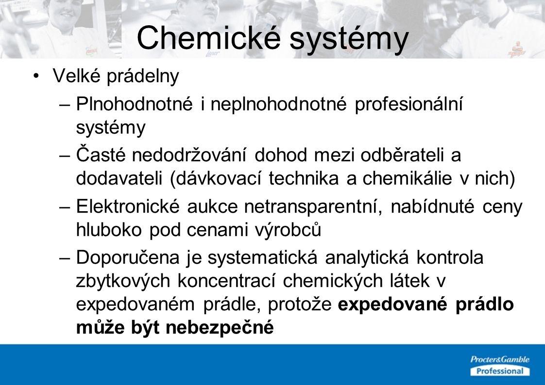 Chemické systémy Velké prádelny –Plnohodnotné i neplnohodnotné profesionální systémy –Časté nedodržování dohod mezi odběrateli a dodavateli (dávkovací technika a chemikálie v nich) –Elektronické aukce netransparentní, nabídnuté ceny hluboko pod cenami výrobců –Doporučena je systematická analytická kontrola zbytkových koncentrací chemických látek v expedovaném prádle, protože expedované prádlo může být nebezpečné