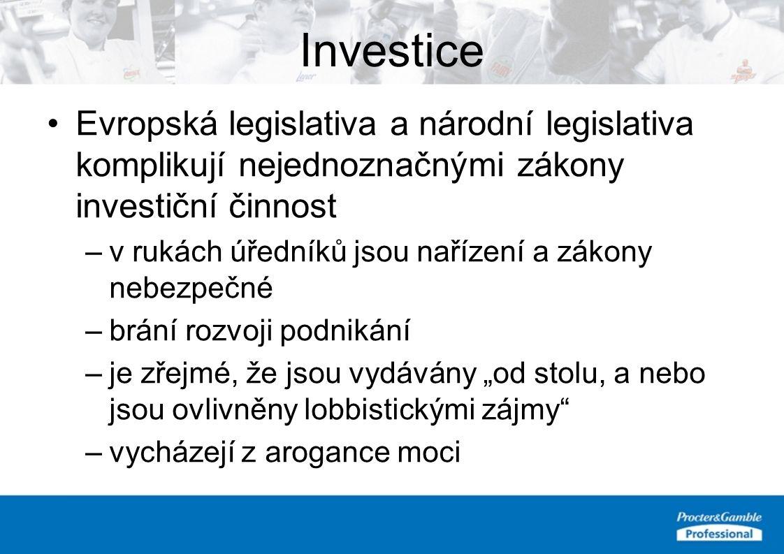 """Evropská legislativa a národní legislativa komplikují nejednoznačnými zákony investiční činnost –v rukách úředníků jsou nařízení a zákony nebezpečné –brání rozvoji podnikání –je zřejmé, že jsou vydávány """"od stolu, a nebo jsou ovlivněny lobbistickými zájmy –vycházejí z arogance moci Investice"""