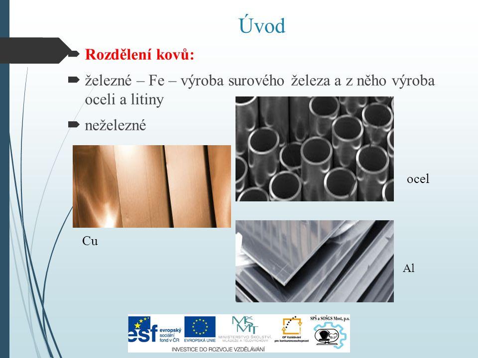 Úvod  Rozdělení kovů:  železné – Fe – výroba surového železa a z něho výroba oceli a litiny  neželezné ocel Cu Al