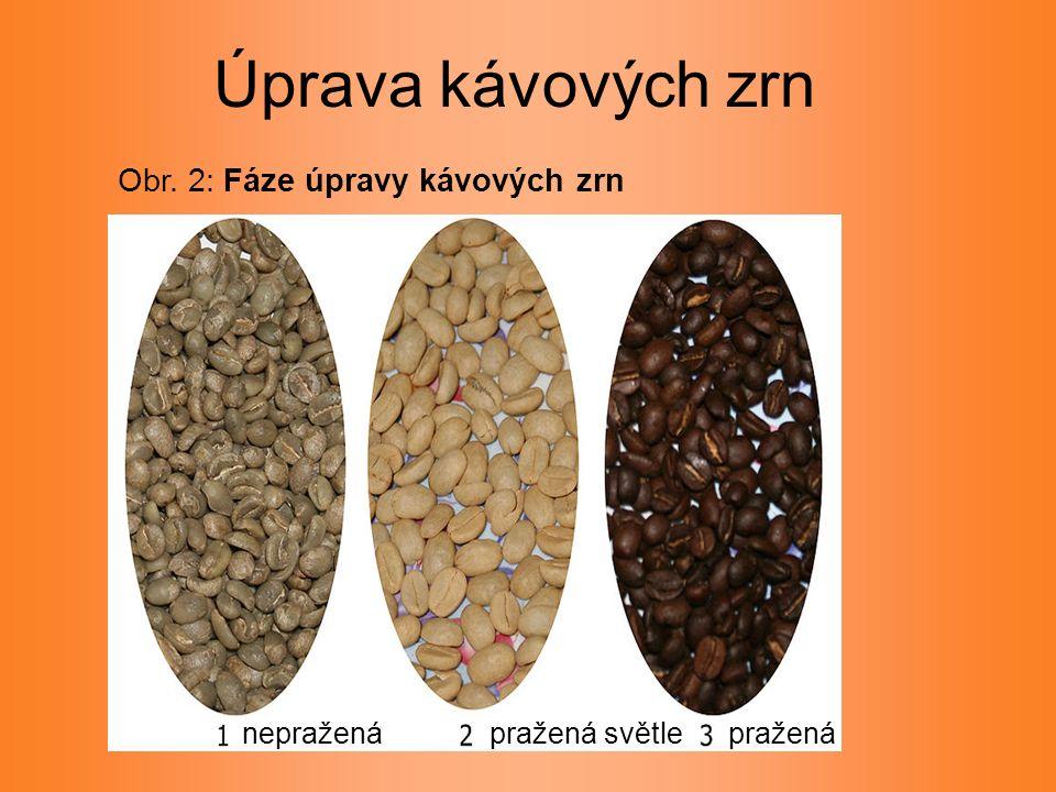 Obr. 2: Fáze úpravy kávových zrn Úprava kávových zrn praženápražená světlenepražená