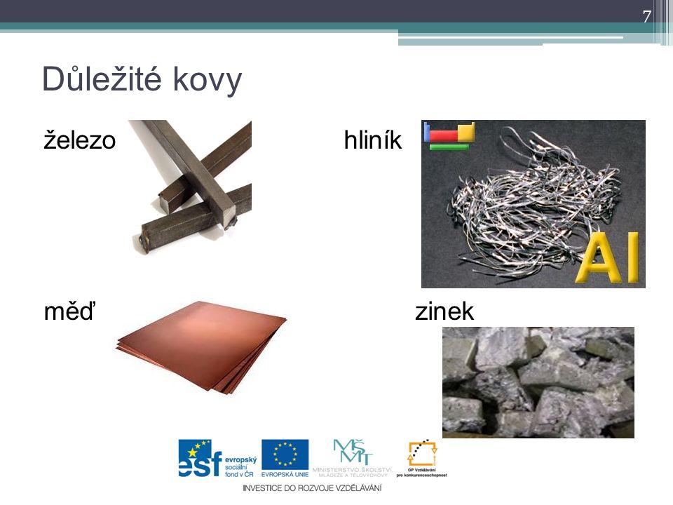 Důležité kovy železo hliník měď zinek 7