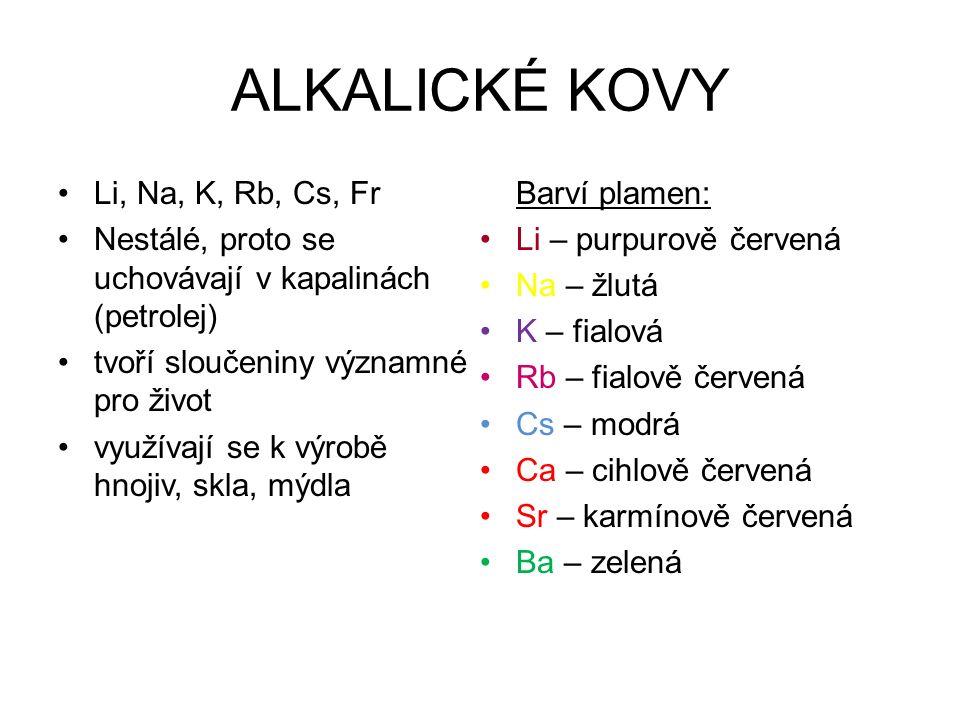 ALKALICKÉ KOVY Li, Na, K, Rb, Cs, Fr Nestálé, proto se uchovávají v kapalinách (petrolej) tvoří sloučeniny významné pro život využívají se k výrobě hnojiv, skla, mýdla Barví plamen: Li – purpurově červená Na – žlutá K – fialová Rb – fialově červená Cs – modrá Ca – cihlově červená Sr – karmínově červená Ba – zelená
