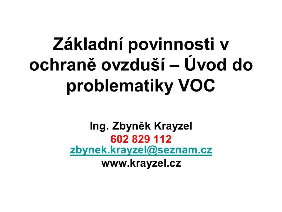 Základní povinnosti v ochraně ovzduší – Úvod do problematiky VOC Ing.