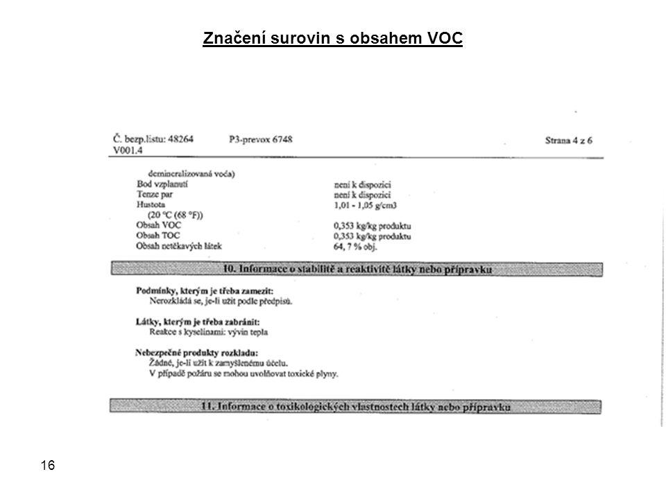 Značení surovin s obsahem VOC 16