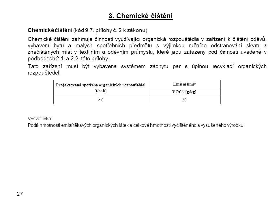 3. Chemické čištění Chemické čištění (kód 9.7. přílohy č.