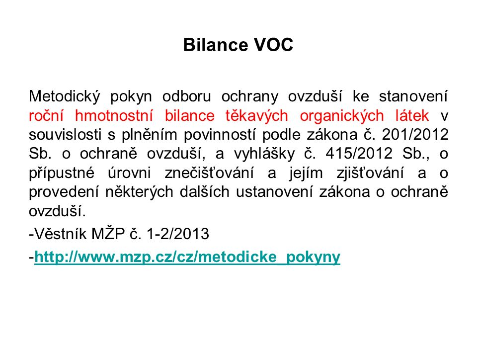 Značení surovin s obsahem VOC 1.