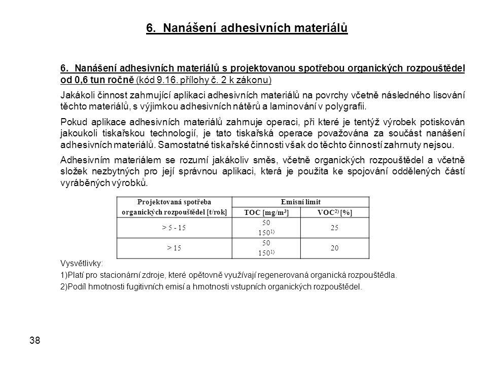 6. Nanášení adhesivních materiálů 6.