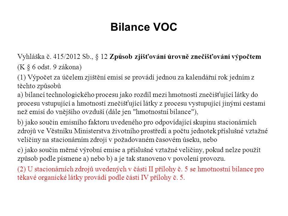 Bilance VOC Vyhláška č.