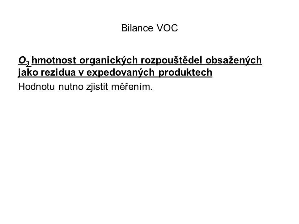 Bilance VOC O 3 hmotnost organických rozpouštědel obsažených jako rezidua v expedovaných produktech Hodnotu nutno zjistit měřením.