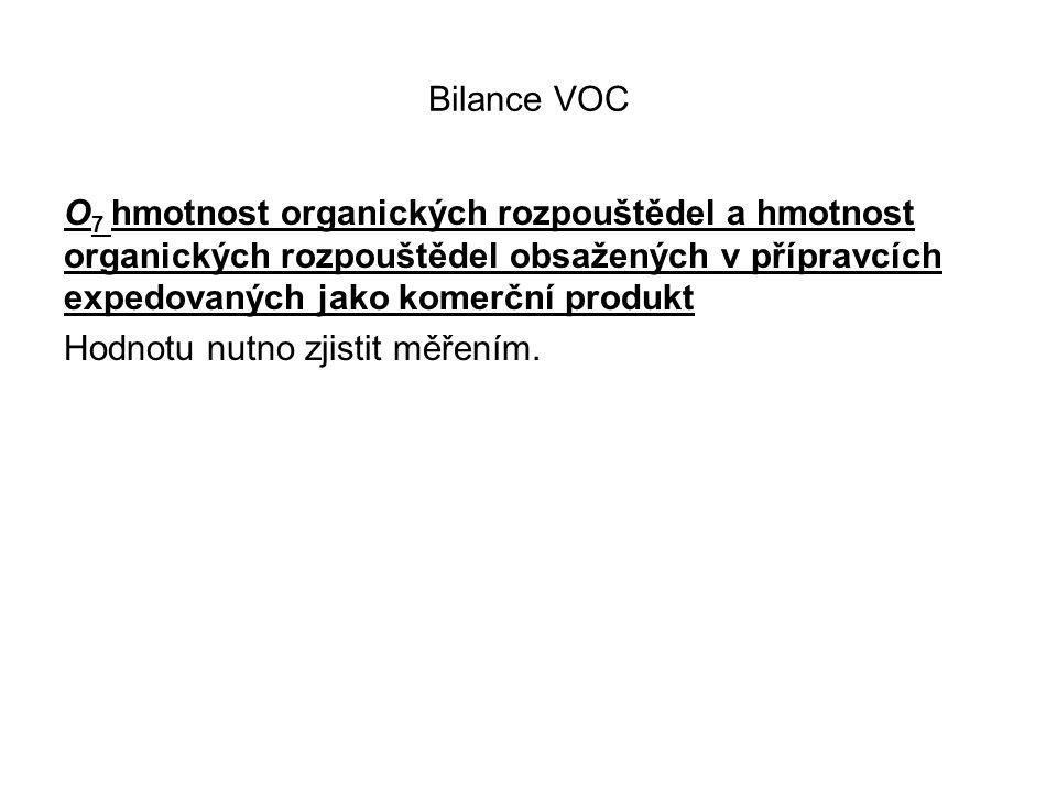 Bilance VOC O 7 hmotnost organických rozpouštědel a hmotnost organických rozpouštědel obsažených v přípravcích expedovaných jako komerční produkt Hodnotu nutno zjistit měřením.