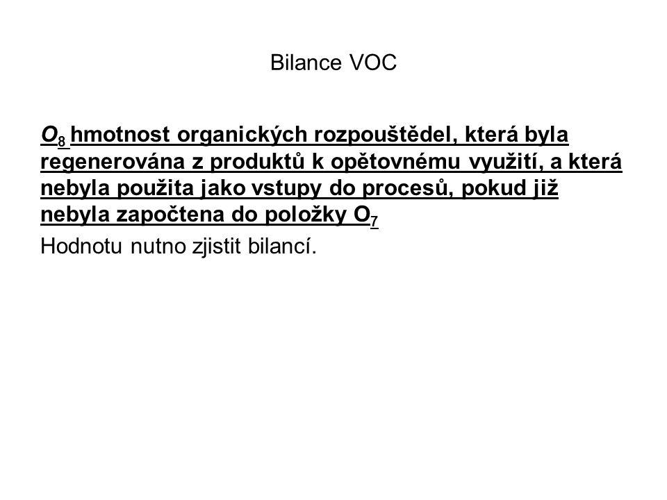 Bilance VOC O 8 hmotnost organických rozpouštědel, která byla regenerována z produktů k opětovnému využití, a která nebyla použita jako vstupy do procesů, pokud již nebyla započtena do položky O 7 Hodnotu nutno zjistit bilancí.