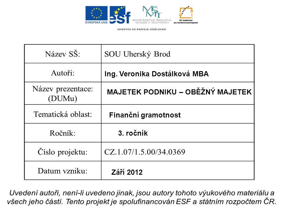 Ing. Veronika Dostálková MBA MAJETEK PODNIKU – OBĚŽNÝ MAJETEK Finanční gramotnost 3.