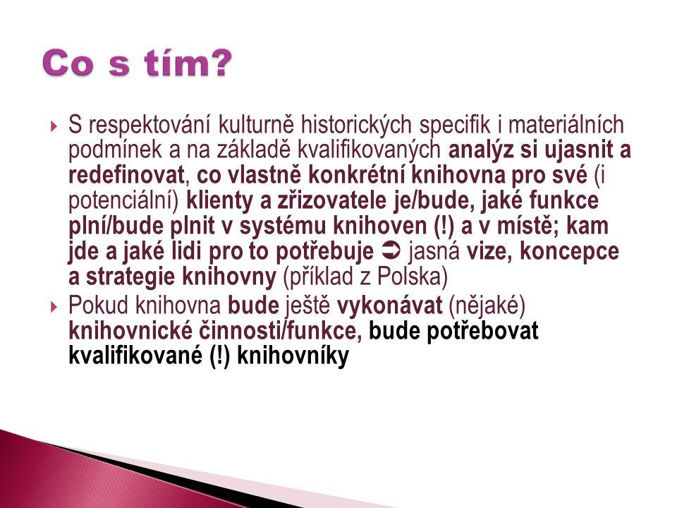  S respektování kulturně historických specifik i materiálních podmínek a na základě kvalifikovaných analýz si ujasnit a redefinovat, co vlastně konkrétní knihovna pro své (i potenciální) klienty a zřizovatele je/bude, jaké funkce plní/bude plnit v systému knihoven (!) a v místě; kam jde a jaké lidi pro to potřebuje  jasná vize, koncepce a strategie knihovny (příklad z Polska)  Pokud knihovna bude ještě vykonávat (nějaké) knihovnické činnosti/funkce, bude potřebovat kvalifikované (!) knihovníky