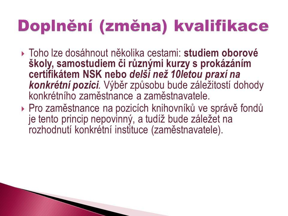 Toho lze dosáhnout několika cestami: studiem oborové školy, samostudiem či různými kurzy s prokázáním certifikátem NSK nebo delší než 10letou praxí na konkrétní pozici.