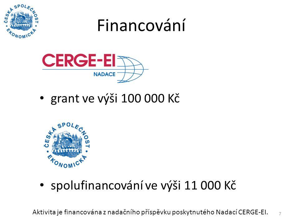 Financování grant ve výši 100 000 Kč 7 spolufinancování ve výši 11 000 Kč Aktivita je financována z nadačního příspěvku poskytnutého Nadací CERGE-EI.