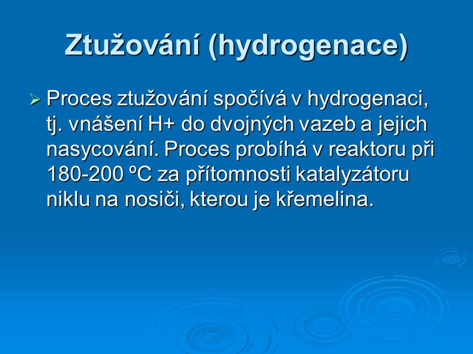 Ztužování (hydrogenace)  Proces ztužování spočívá v hydrogenaci, tj.