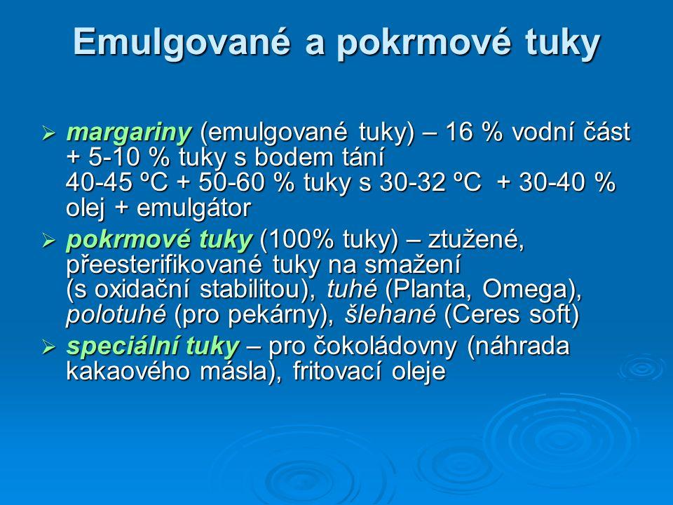 Emulgované a pokrmové tuky  margariny (emulgované tuky) – 16 % vodní část + 5-10 % tuky s bodem tání 40-45 ºC + 50-60 % tuky s 30-32 ºC + 30-40 % olej + emulgátor  pokrmové tuky (100% tuky) – ztužené, přeesterifikované tuky na smažení (s oxidační stabilitou), tuhé (Planta, Omega), polotuhé (pro pekárny), šlehané (Ceres soft)  speciální tuky – pro čokoládovny (náhrada kakaového másla), fritovací oleje