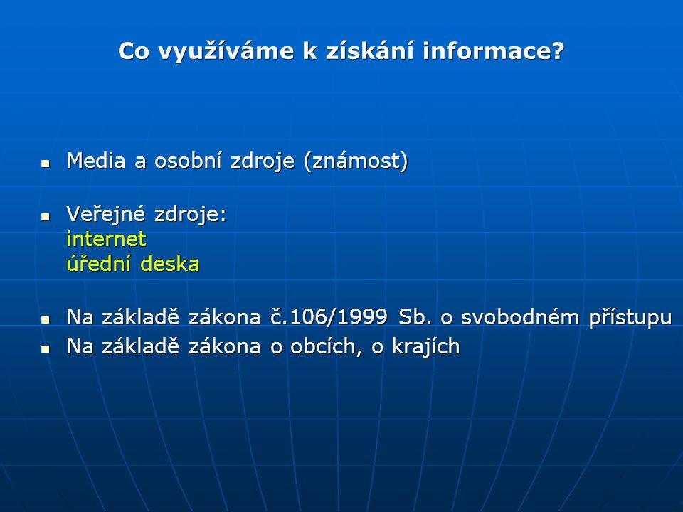 "Veřejné zdroje - Internet centralniadresa.cz centralniadresa.cz Web obce (MČ, Magistrátu, úřadu) Web obce (MČ, Magistrátu, úřadu) justice.cz justice.cz CEDR cedr.mfcr.cz/cedr3 CEDR cedr.mfcr.cz/cedr3 ARES wwwinfo.mfcr.cz/ares ARES wwwinfo.mfcr.cz/ares ČÚZK nahlizenidokn.cuzk.cz ČÚZK nahlizenidokn.cuzk.cz Odkaz ""Digitální archiv www.psp.cz Odkaz ""Digitální archiv www.psp.cz Globální vyhledavače např."