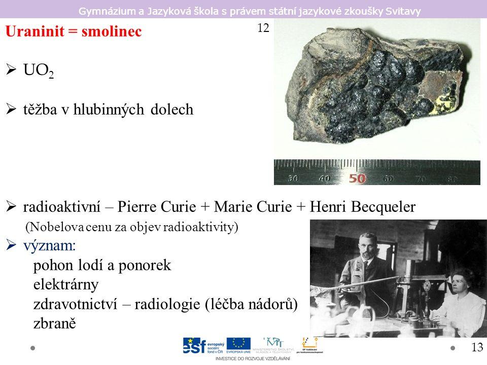 Gymnázium a Jazyková škola s právem státní jazykové zkoušky Svitavy Uraninit = smolinec  UO 2  těžba v hlubinných dolech  radioaktivní – Pierre Cur