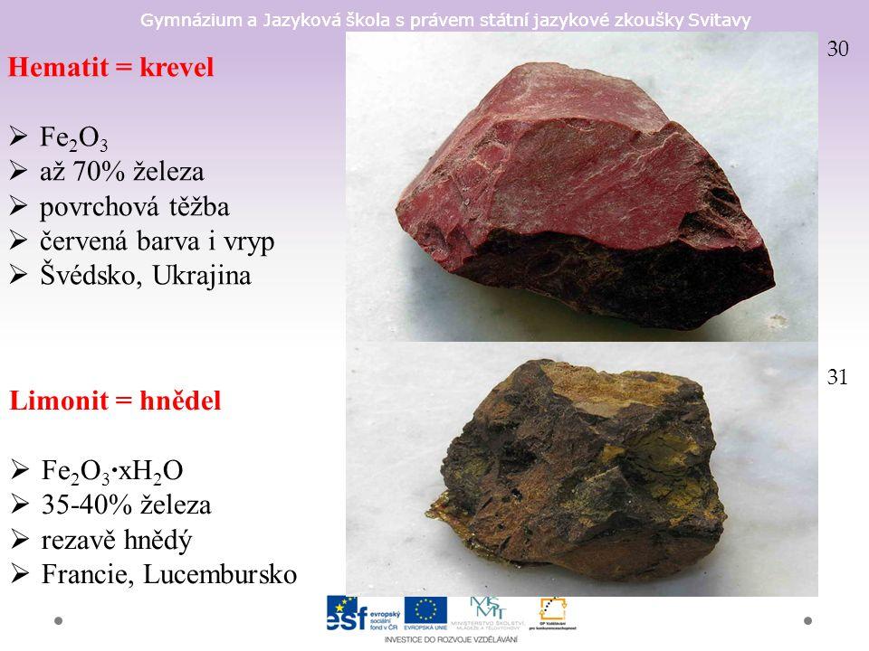 Gymnázium a Jazyková škola s právem státní jazykové zkoušky Svitavy Hematit = krevel  Fe 2 O 3  až 70% železa  povrchová těžba  červená barva i vryp  Švédsko, Ukrajina 30 Limonit = hnědel  Fe 2 O 3 ·xH 2 O  35-40% železa  rezavě hnědý  Francie, Lucembursko 31