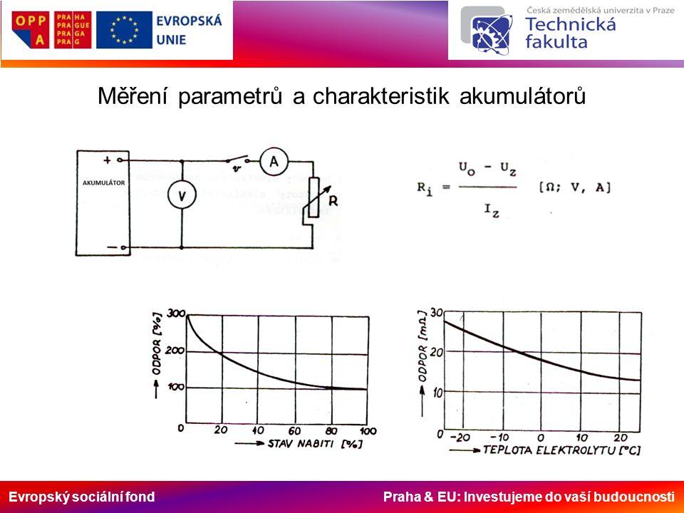 Evropský sociální fond Praha & EU: Investujeme do vaší budoucnosti Měření parametrů a charakteristik akumulátorů