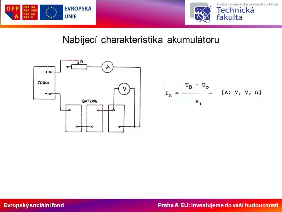 Evropský sociální fond Praha & EU: Investujeme do vaší budoucnosti Nabíjecí charakteristika akumulátoru